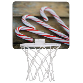 Chrstmas Candy Canes on Vintage Wood Mini Basketball Hoop