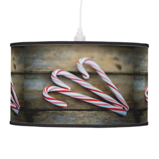 Chrstmas Candy Canes on Vintage Wood Pendant Lamp