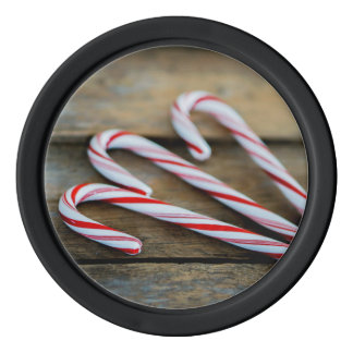 Chrstmas Candy Canes on Vintage Wood Poker Chips