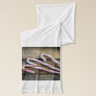Chrstmas Candy Canes on Vintage Wood Scarf