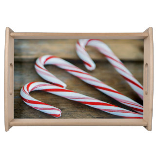 Chrstmas Candy Canes on Vintage Wood Serving Tray