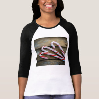 Chrstmas Candy Canes on Vintage Wood T-Shirt