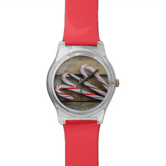 Chrstmas Candy Canes on Vintage Wood Watch