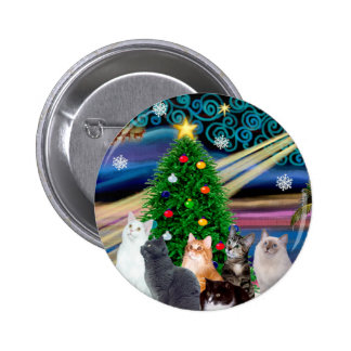 Chrstmas Magic - Six cats (variety) 2 Inch Round Button