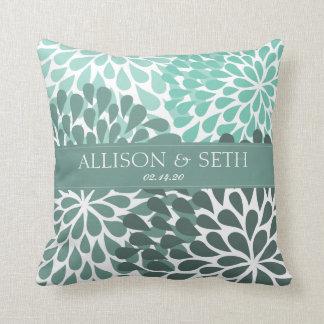 Chrysanthemum (Beryl Green) Wedding Shower Gift Throw Pillow