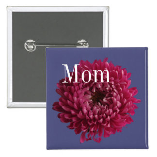 Chrysanthemum & Blue 2 Inch Square Button