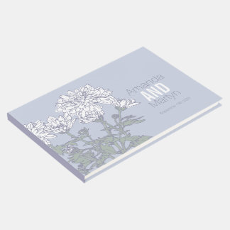Chrysanthemum botanic outline wedding guest book