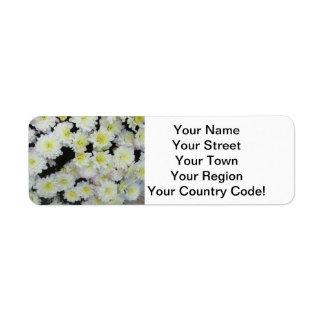 Chrysanthemum Cluster Garden White Return Address Label