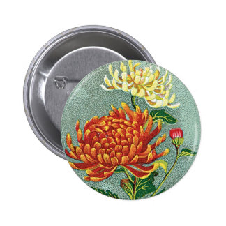 Chrysanthemum Flower Vintage Japanese Silk Label 2 Inch Round Button
