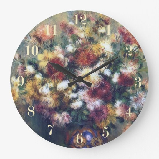 Chrysanthemum Flowers Renoir Fine Art Large Clock