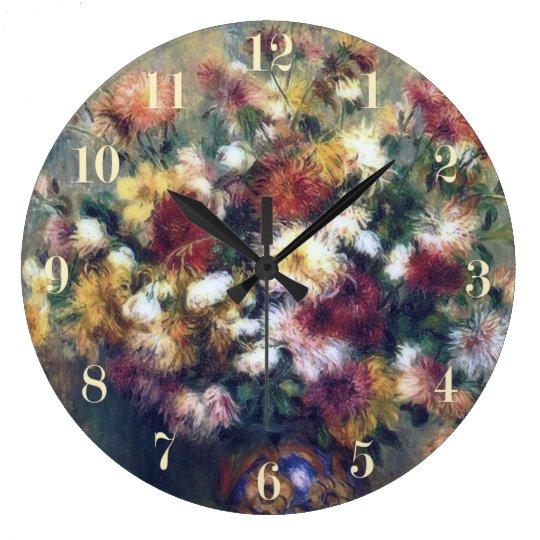 Chrysanthemum Flowers Renoir Fine Art Wall Clocks