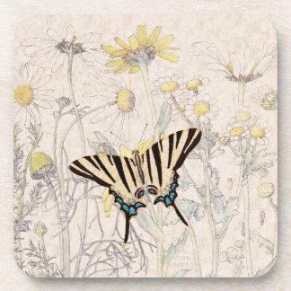 Chrysanthemum Flowers Wildlife Butterfly Coaster
