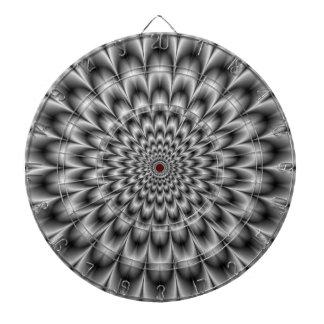 Chrysanthemum in Black and White Dartboard