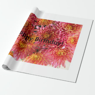 chrysanthemum pink and warm pink wrapping paper