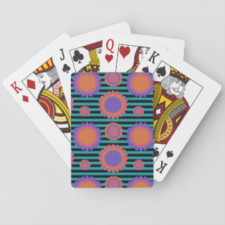 Chrysanthemum Triple Flowers Black Teal Striped Playing Cards