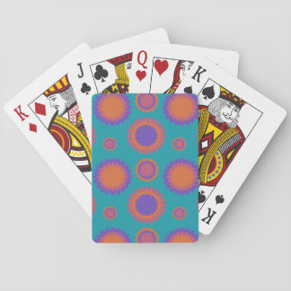 Chrysanthemum Triple Flowers Teal Purple Orange Playing Cards