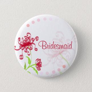 Chrysanthemums Bridesmaid/Bestman Badge 2 Inch Round Button