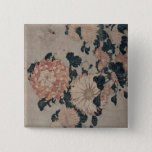 Chrysanthemums (colour woodblock) 2 inch square button
