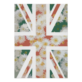 Chrysanthemums Flower Union Jack British(UK) Flag Poster