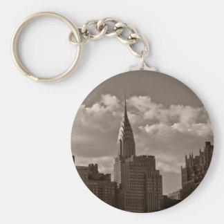 Chrysler Building and New York Skyline Basic Round Button Keychain