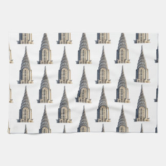 Chrysler Building Dome Pattern Black on White Kitchen Towel