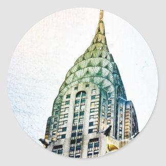 Chrysler Building - Frozen - New York City Classic Round Sticker