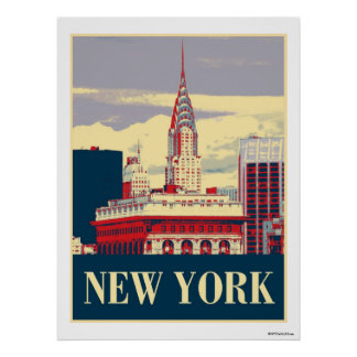 Chrysler Building in Red White Blue Poster