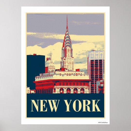 Chrysler Building in Red White Blue Poster