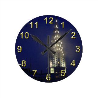 Chrysler Building Lit up at Dusk in the Mist Clock
