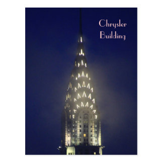 Chrysler Building Lit up at Dusk in the Mist Postcard