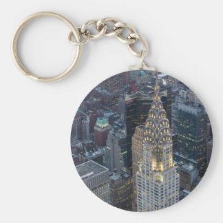 Chrysler Building New York City Aerial Skyline NYC Basic Round Button Keychain