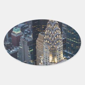 Chrysler Building New York City Aerial Skyline NYC Oval Sticker