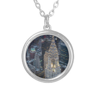 Chrysler Building New York City Aerial Skyline NYC Silver Plated Necklace