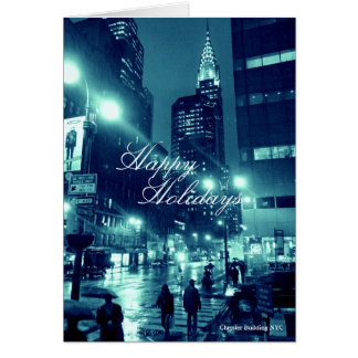 Chrysler Building NYC Blue Holidays Card
