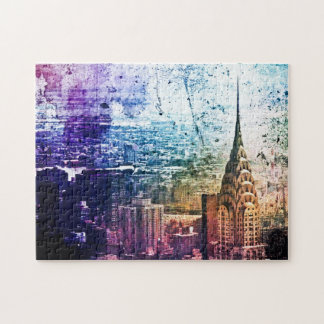 Chrysler Building - Paint Splattered - New York Jigsaw Puzzle