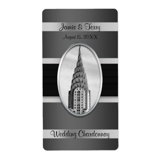 Chrysler Building Party Wine Label Black Silver BW