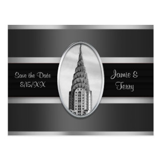 Chrysler Building Save the Date Gray Silver BW Postcard