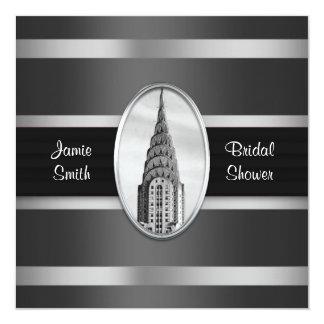 Chrysler Building Shower Invite Black, Silver