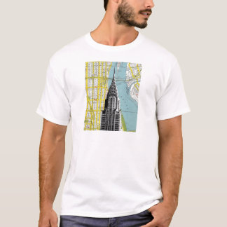 Chrysler Building with Map background T-Shirt