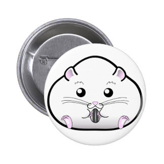 Chubby All White Russian Dwarf Hamster 2 Inch Round Button