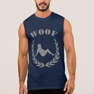 Chubby Bear In Laurel Leaves WOOF Cool Bear Pride Sleeveless Shirt