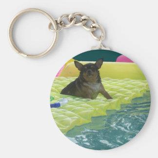 Chubby Chihuahua Pool Dog Keychain