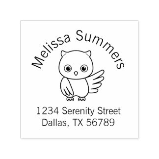 Chubby Little Owl Address Self-inking Stamp
