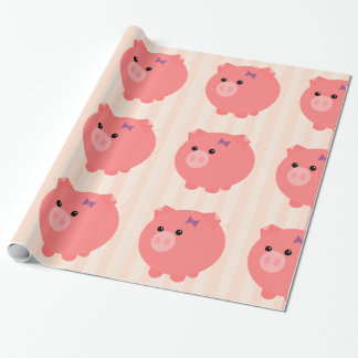 Chubby Pig with PInk Stripes Gift Wrap