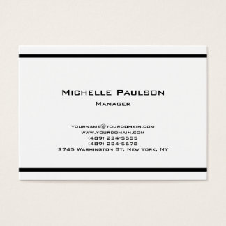Chubby Plain Black White Manager Consultant Business Card