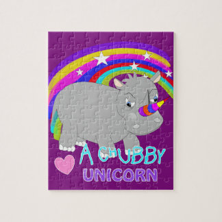 Chubby Unicorn Cute Rainbow Fantasy Fun Puzzle