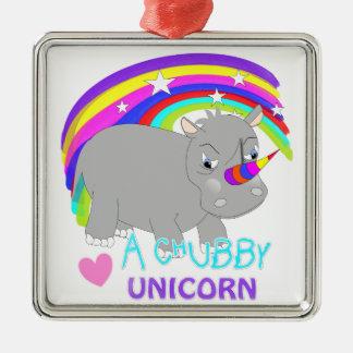 Chubby Unicorn Cute Rainbow Fantasy Fun Silver-Colored Square Ornament