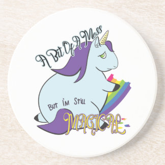 Chubby Unicorn Eating a Rainbow - A Magical Mess Coaster