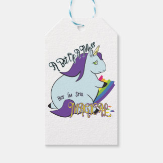 Chubby Unicorn Eating a Rainbow - A Magical Mess Gift Tags