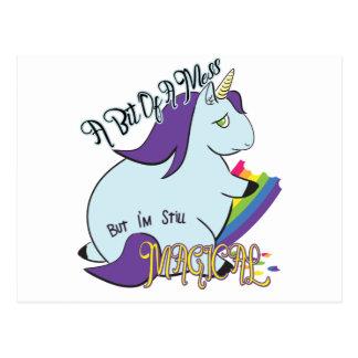 Chubby Unicorn Eating a Rainbow - A Magical Mess Postcard
